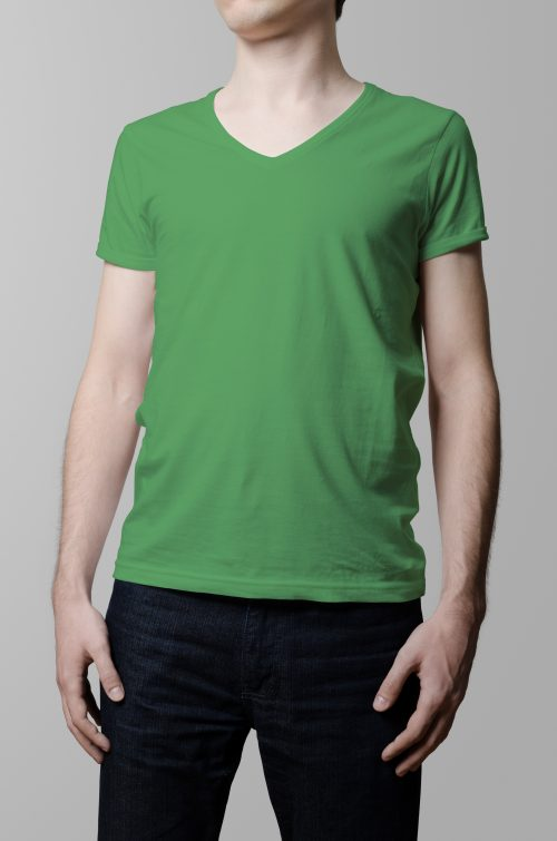 T-Shirt Printing Las Vegas V-Neck Male Green Triblend